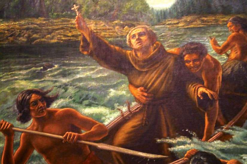 Franciscan Friar Nicolas Viel and a young Huron convert, Ahuntsic, were murdered at what is known today as Sault au Recollect in this painting. They are considered the first Canadian martyrs, dying 17 years before St. René Goupil, the first Jesuit martyred for his faith.
