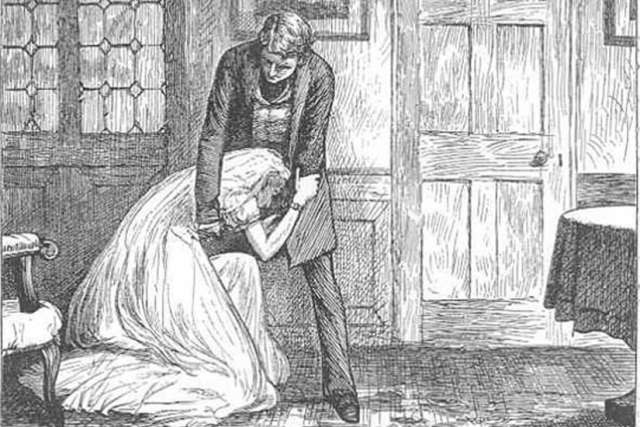 Great Expectation, chapter 49, Miss Havisham begging to be forgiven, by F.A. Fraser
