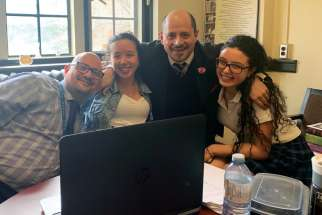 Cosmo Femia, third from left, and twin brother Damiano founded the Daughters of the Immaculate Heart of Mary club at Loretto Abbey Catholic Secondary School to empower students like Victoria and Olivia Marinelli to serve those in need of help both locally and globally.