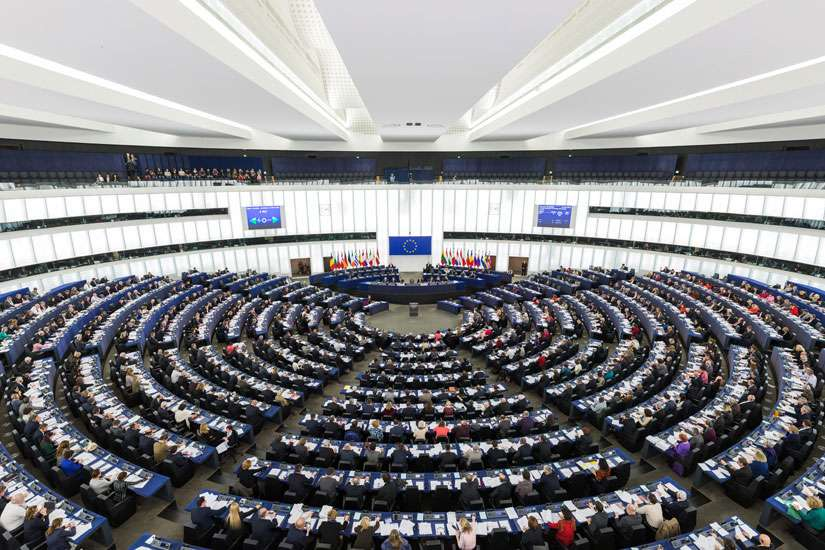 The hemicycle of the European Parliament in Strasbourg in 2014. A commission of Catholic bishops have called on the European Union to be more active in promoting peace and reconciliation on country borders.