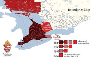 Since the creation of the Diocese of Toronto in 1842, which itself was a spinoff of the Diocese of Kingston, the boundaries of the Toronto diocese has been reduced three times, as parts of its territory are partitioned off to create new dioceses.