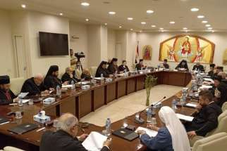 "Patriarchs and others attend a meeting in Cairo Nov. 25-29, 2019. The Council of Catholic Patriarchs of the East called upon officials of their homelands to ""ensure safety, peace and tranquility and stability for their citizens."""