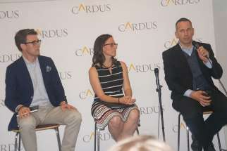 Former Ambassador of Religious Freedom, now director of Cardus Law, Andrew Bennett, left, with director of Cardus Family Andrea Mrozek and director of Cardus Social Cities' program Milton Friesen participated in a panel June 1 on what makes a good city.