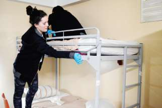 Teens spent an afternoon changing bed sheets at Good Shepherd Ministries, a homeless shelter in Toronto.