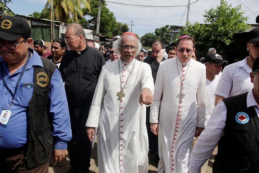 Cardinal Leopoldo Brenes Solorzano and Archbishop Waldemar Sommertag, apostolic nuncio to Nicaragua, are seen in Masaya, Nicaragua, June 21, 2018, as clashes between anti-government protesters and police continued. The Nicaraguan bishops' conference announced March 4 it has not received invitations to play a role in a recently convened national dialogue to pull the nation out of political crisis.