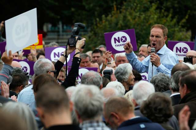 Jim Murphy, a Labor Party member of the British Parliament, addresses a crowd in Edinburgh, Scotland, Sept. 2, as part of his campaign to keep Scotland as part of the United Kingdom. A Sept. 18 ballot will decide whether Scotland will break away from uni on with England and Wales after more than 300 years.