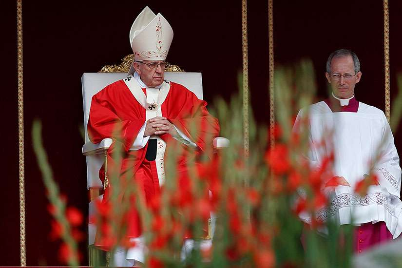 Pope Francis celebrates Mass marking the feast of Sts. Peter and Paul in St. Peter's Square at the Vatican June 29.