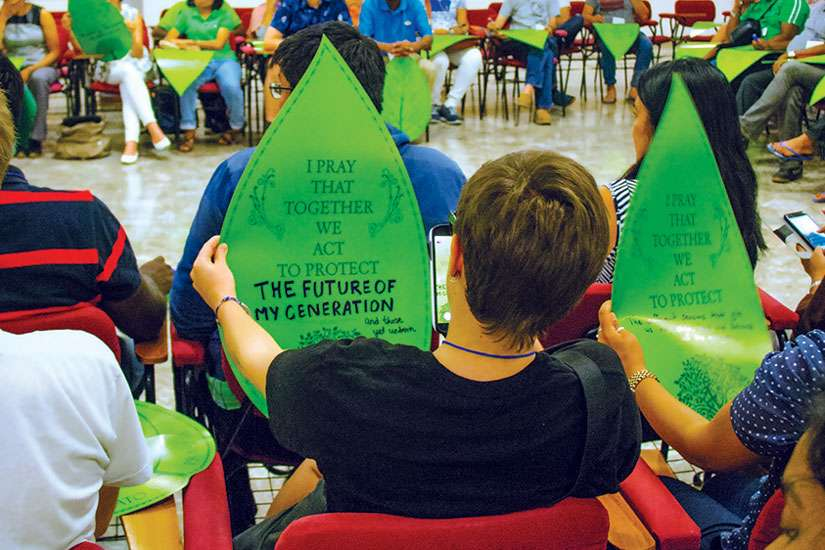 Youth leaders share their hopes for change during an environmental event hosted by Green Faith.
