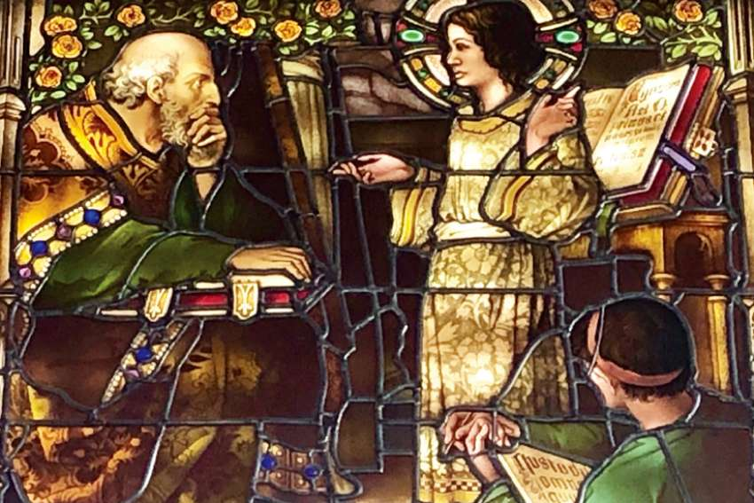 This stained glass window in St. Basil's Hall at St. Mary's University in Calgary — depicting a 12-year-old Jesus talking to the elders in the temple  —holds lessons for young teachers, says Gerry Turcotte, among them the idea that learning is a two-way street.