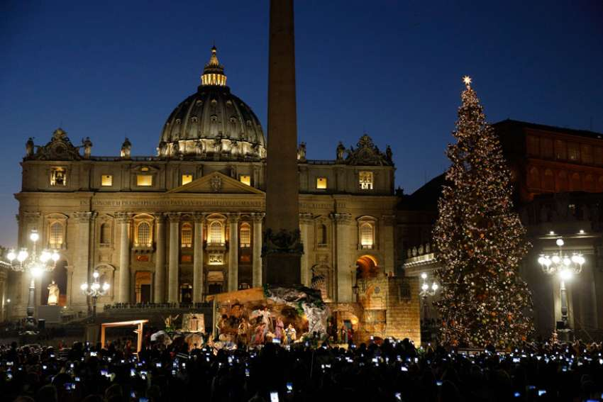 Just before the Christmas tree lighting at the Vatican, Pope Francis says Baby Jesus reminds us of painful plight of migrants.