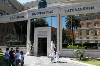 The main entrance of the Pontifical Lateran University in Rome. The Vatican Congregation for Catholic Education has asked pontifical universities to reopen in the fall with students present but many are making back-up plans.