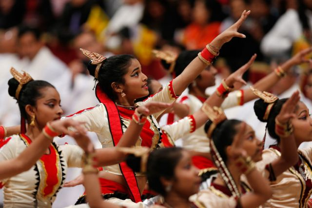Dancers from Sri Lanka perform after a Mass for Sri Lankan pilgrims in St. Peter's Basilica at the Vatican Feb. 8.
