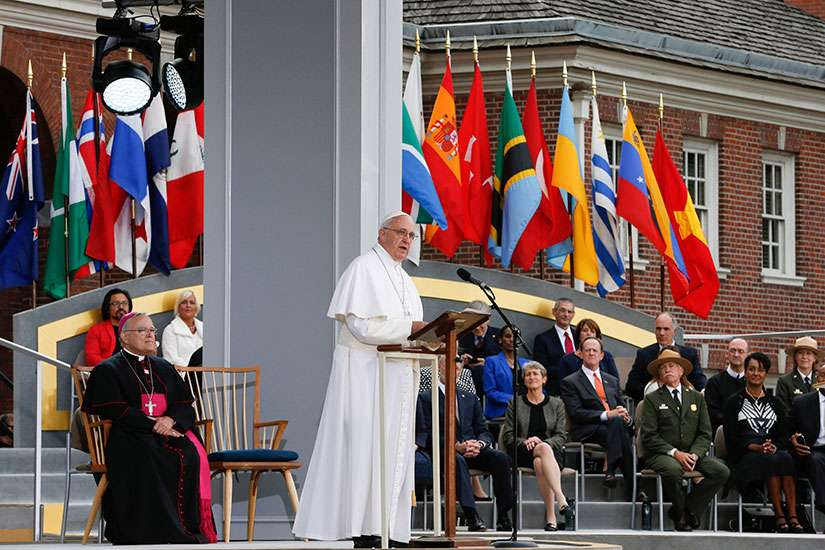 Pope Francis speaks from Independence Hall in Philadelphia Sept. 26.