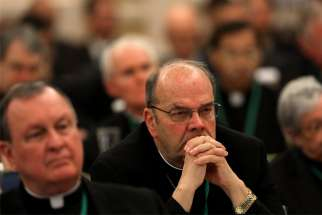 Bishops listen to speakers on the first day of the spring general assembly of the U.S. Conference of Catholic Bishops in Baltimore June 11, 2019.