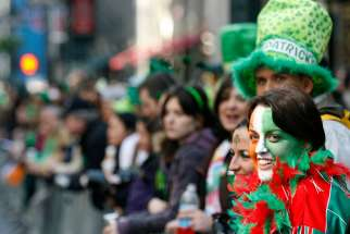 Elaine Corrigna of Achill Island, Ireland, smiles before the start of the St. Patrick's Day parade in New York March 17, 2009.