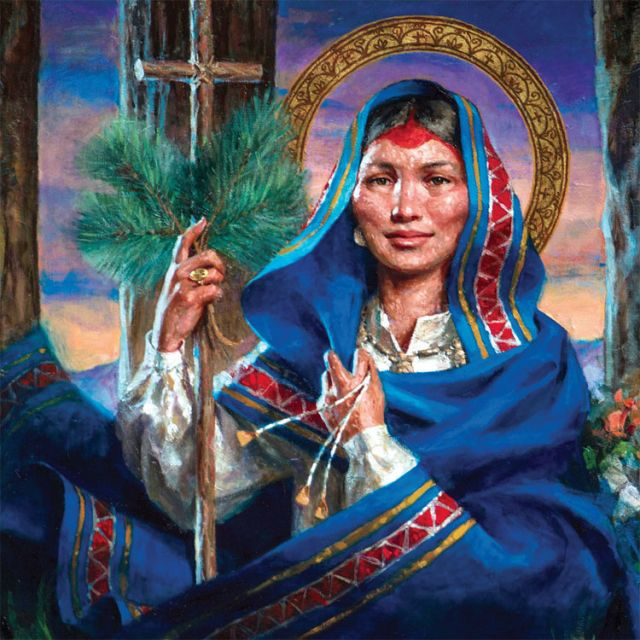 A painting portraying St. Kateri Tekakwitha at the Shrine of Our Lady of Martyrs in Auriesville, N.Y.