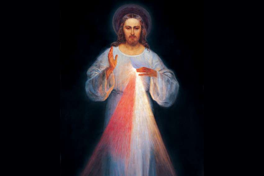 The Divine Mercy, conceived by St. Faustina and painted by Eugeniusz Kazimirowski in 1934.