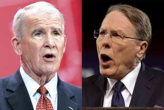Oliver North, left, and Wayne LaPierre.