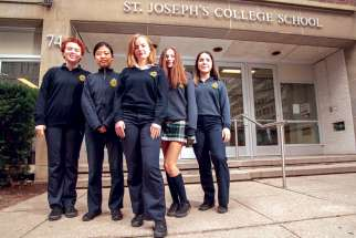 These Grade 11 students — from left, Zoe Zias, Grace Cao, Linden Thomas, Sophia Dantas and Catarina Rosa — say world leaders have shirked their responsibilities at the UN climate negotiations in Madrid.