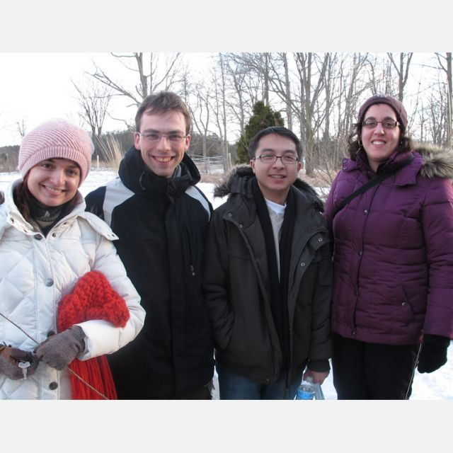 Faith Connections' Snowshoe & Prayer event Feb. 25 became a Hike & Prayer due to the lack of snow in Guelph, Ont. From left to right: participants Michalina Ratajczak, Dorian Pula, Wilfred Villegas and Patricia Soscia.