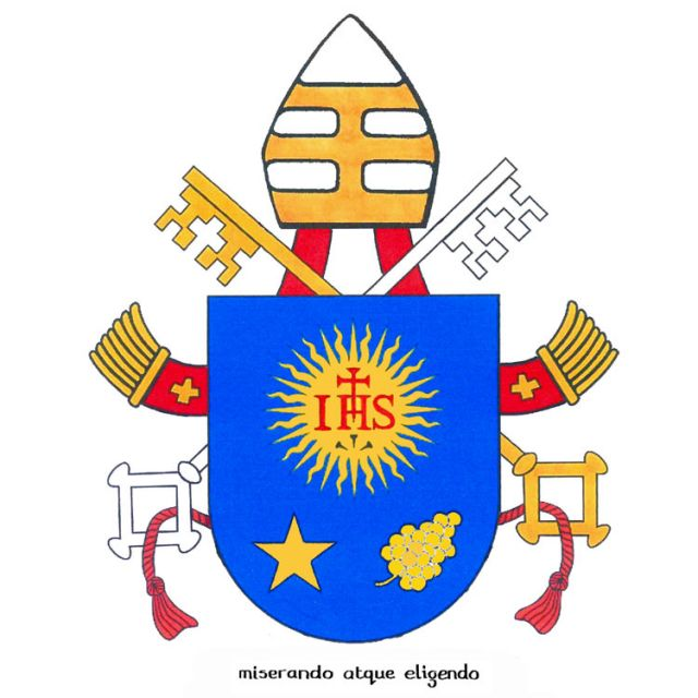"The coat of arms of Pope Francis borrows much from his former episcopal emblem. On the blue shield is the symbol of the Society of Jesus. Below it is a five-pointed star and the buds of a spikenard flower, which represent respectively Mary and St. Joseph . The papal motto is the Latin phrase ""Miserando atque eligendo,"" which means ""because he saw him through the eyes of mercy and chose him"" or more simply, ""having mercy, he called him."" The phrase comes from a homily by St. Bede."