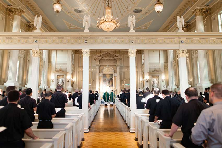 Seminarians attend Mass in 2017 in the Chapel of the Immaculate Conception at Mundelein Seminary in Illinois, near Chicago.