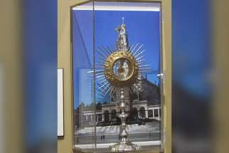 A reliquary containing the relics of Blesseds Francisco and Jacinta Marto, two of the three children to whom Mary appeared in Fatima in 1917, are seen May 14 at Our Lady of Fatima in Victoria, British Columbia.