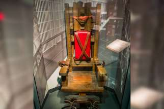The electric chair that executed 125 men between 1916 and 1960 in Tennessee is seen on display at the National Museum of Crime and Punishment in Washington March 5.