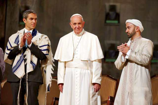 Catholic-Jewish relations continue to improve under Pope Francis. Here he stands with Rabbi Elliot J. Cosgrove at an interreligious ceremony held last September at the the 9/11 Memorial Museum in New York.