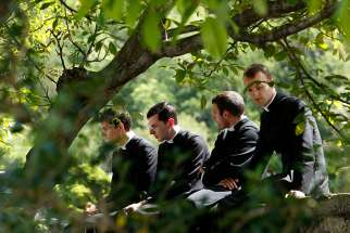 Seminarians at the Society of St. Pius X seminary in Econe, Switzerland, in this May 10, 2012, file photo. The traditionalist society is not in full communion with the Catholic Church.