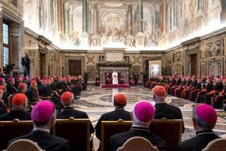 In this 2017 file photo, Pope Francis speaks during his annual pre-Christmas meeting with top officials of the Roman Curia and members of the College of Cardinals in Clementine Hall at the Vatican.