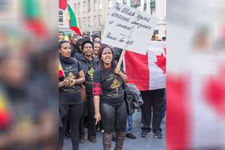Ethiopian immigrants from the Christian, Orthodox, Protestant and Muslim faiths all gathered April 28 in Toronto's Dundas Square to appeal to Canadians and the international community to do more to protect Ethiopian migrants in Yemen and South Africa.