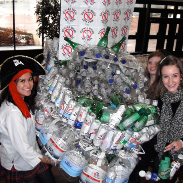 Students from Cardinal Carter Academy for the Arts hold their pirate ship made from plastic water bottles during a rally held on Bottled Water-Free Day at the Catholic Education Centre in March 2011.
