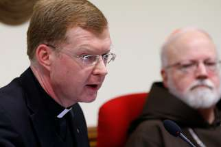 Jesuit Father Hans Zollner, president of the Center for Child Protection, speaks in 2015 at the Pontifical Gregorian University in Rome during a news conference officially launching the Center for Child Protection in Rome.
