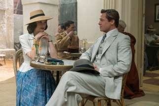 "Brad Pitt and Marion Cotillard star in a scene from the movie ""Allied."""