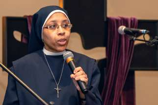 Sr. Teresa Joseph of the Sisters of Our Lady Immaculate her vocation story to more than 700 youth at the annual Ordinandi Youth Event March 5 in Toronto.