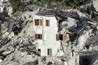 Destroyed homes are seen Aug. 26 in Pescara del Tronto, Italy. Pope Francis said he was woken up by the 6.2 earthquake, which left hundreds dead and thousands homeless, when it happened.