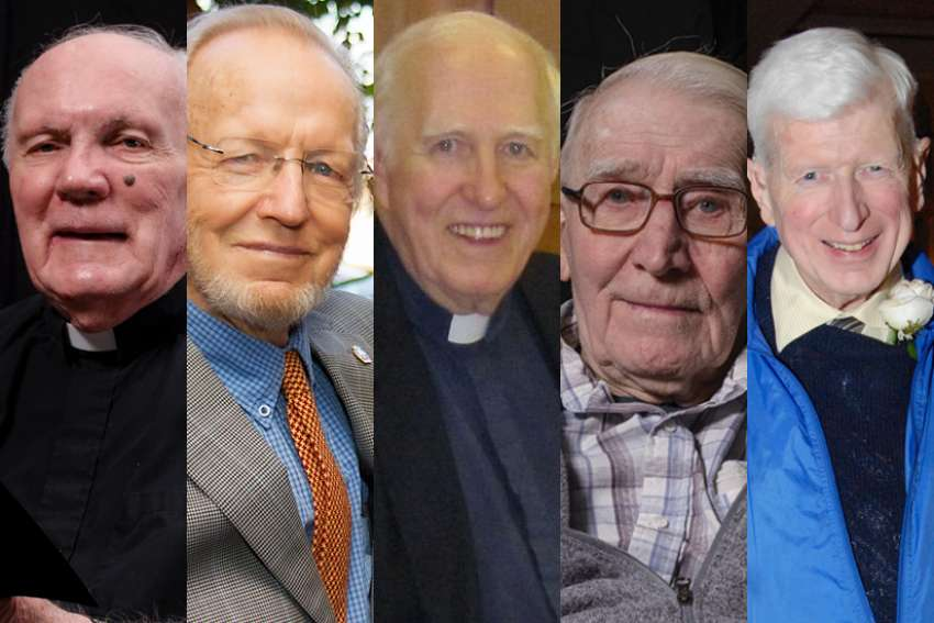 Jesuit Fathers (from left) Michael Hawkins, 83, Peter Larisey, 91, Norman Dodge, 92, and Francis Xavier Johnson, 93, as well as George O'Neill, 77, died between April 29 and May 3 at René Goupil House, a Jesuit infirmary neighbouring the Manresa retreat centre.