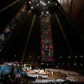 Pope Francis celebrates Mass with bishops, priests, religious and seminarians in the Cathedral of St. Sebastian in Rio de Janeiro July 27. The metropolitan cathedral rises up some 246 feet and the capacity to hold 20,000 people.