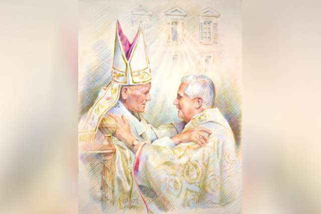 Artist Cyril Leeper captures the embrace of Pope John Paul II and Cardinal Joseph Ratzinger.