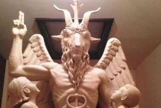 The Satanic Temple's template for a statue of Baphomet is pictured in this undated handout photo obtained by Reuters June 27, 2014.