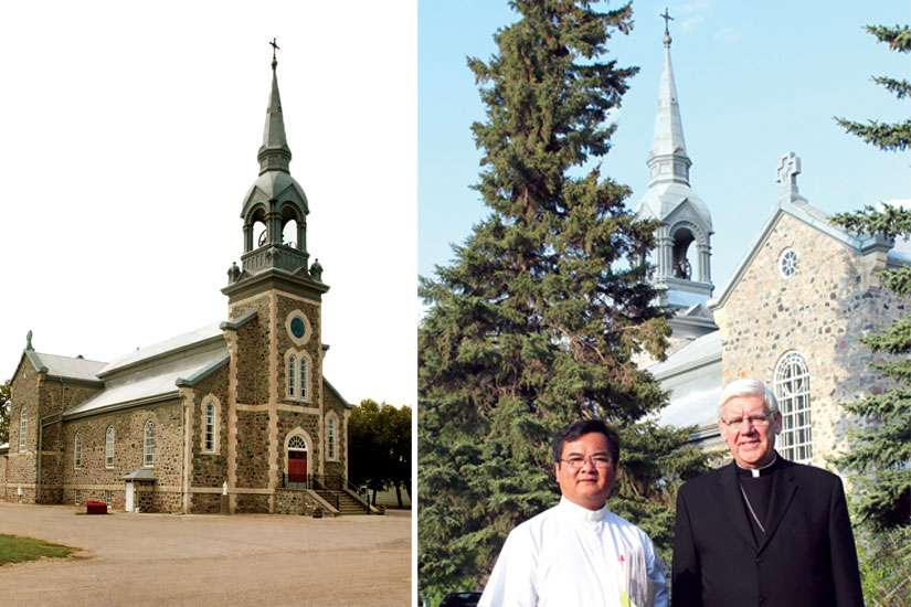 Sacred Heart Church in Qu'Appelle Valley has a long history. Pastor Fr. Louis Kim Nguyen, left, wil be celebrating the 150th anniversary Mass of Sacred Heart Church in Lebret, Sask., with Regina Archbishop Daniel Bohan on June 7.