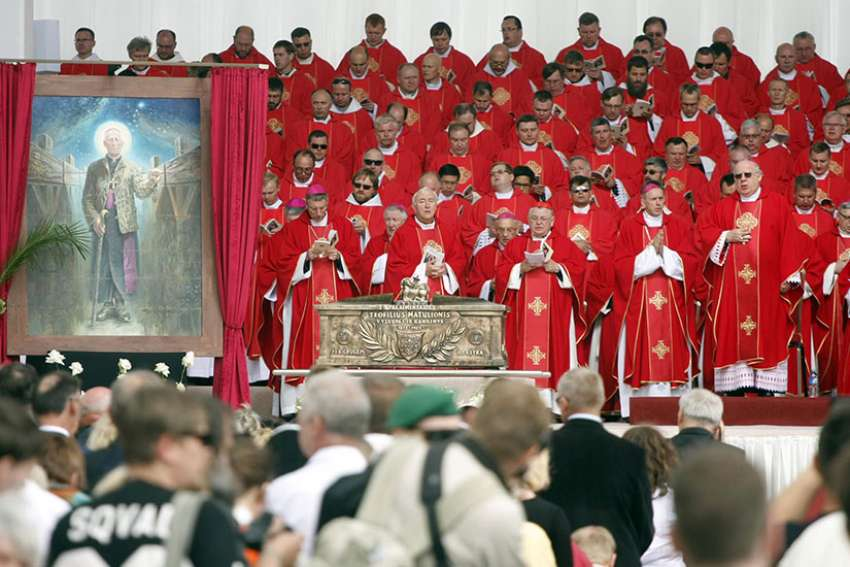 Prelates concelebrate the beatification Mass of Lithuanian Archbishop Teofilius Matulionis outside Vilnius Cathedral June 25. Archbishop Matulionis, who was murdered in 1962 with a lethal injection after 16 years in prisons and labor camps, became the first Catholic martyr from the country's communist era to be declared blessed.