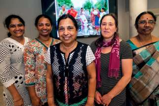 SOPAR workers from India — Latha Dodda, Shobha Singareddy, Angel Gingras, Janice Aubrey and Jethrutha Reddy —visited the Sisters of St. Joseph in Toronto.