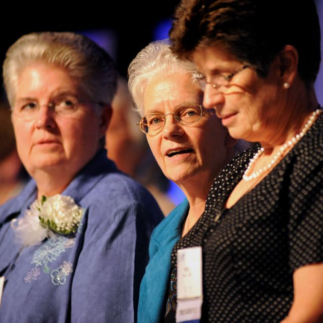 "Franciscan Sister Florence Deacon (center), president of the Leadership Conference of Women Religious, is joined by Sister Carol Zinn (left), a Sister of St. Joseph, and past president Franciscan Sister Pat Farre ll in a file photo marked Aug 10, 2012. A statement issued by the Vatican May 7 said the doctrinal congregation and the congregation for religious ""have for some time been collaborating on a renewed theological vision of religious life in the church."""