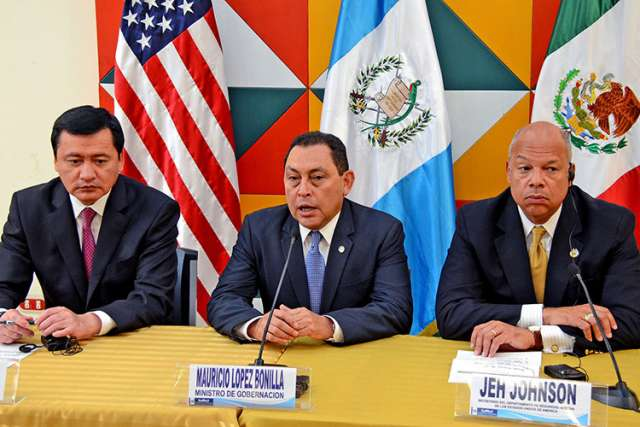 A handout picture provided by the Guatemalan Foreign Relations Ministry shows Mexican Interior Secretary Miguel Angel Chong, Guatemalan Interior Minister Mauricio Lopez Bonilla, and U.S. Secretary of Homeland Security Jeh Johnson addressing the humanitar ian crisis of child migrants at the U.S. border during a press conference at the Foreign Minister's office in Guatemala City July 9. President Obama has asked Congress for $3.7 billion dollars in aid to plug the flood of young parentless migrants.