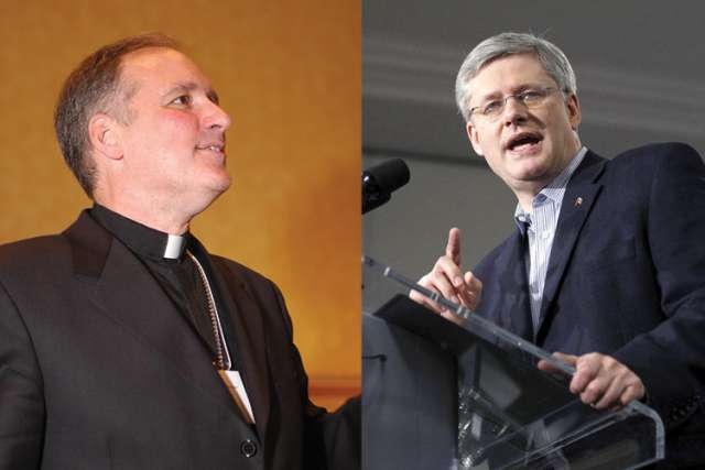 Archbishop Paul-André Durocher and Prime Minister Stephen Harper