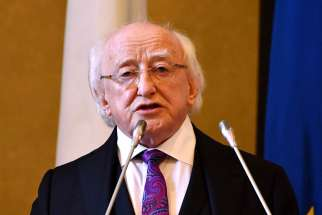 President Michael D. Higgins of Ireland delivers his address during the State of the Union conference in Florence, Italy, May 10. During a June 5 ceremony in Dublin, Higgins honored and apologized to women who once labored in the country's Magdalene laundries that were run by religious orders.