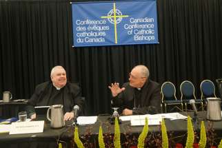 "Archbishop Paul-André Durocher, right, president of the Canadian bishops' conference, said the Supreme Court's assisted suicide ruling is a cause of ""worry and concern."""