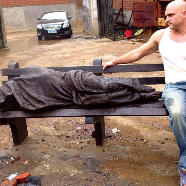 Tim Schmalz, inspired by a scene in Toronto, sculpted his Jesus the Homeless figure in Beijing.